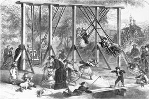 19th-Century Illustration of a Playground in Central Park