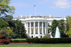 South Facade and South Lawn of the White House in Washington DC in Spring Colors by 1photo