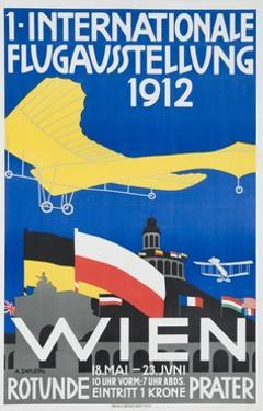 1st International Flying Expo Vienna Austria 1912 Advertising Poster