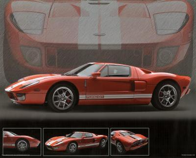2005 Ford GT40 Orange Car Art Print Poster