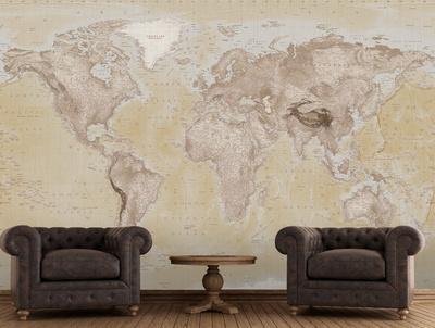 neutral map wallpaper mural