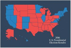 2016 US Presidential Electoral College Results (Blue)
