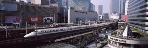 300 Series Shinkansen Train Leaving Railroad Station, Tokyo Prefecture, Kanto Region, Honshu, Japan