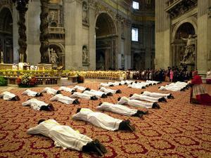 34 Deacons of the Rome Diocese Lay Before Pope John Paul II
