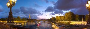 360 Degree View of the Pont Alexandre Iii Bridge at Dusk, Seine River, Paris, Ile-De-France, France