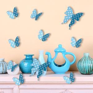 3D Blue Dots Butterflies