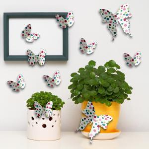 3D Colourful Dots Butterflies