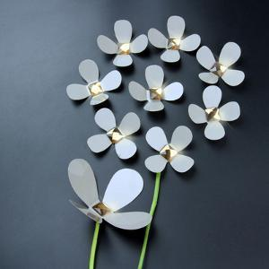3D Crystal Flowers - White
