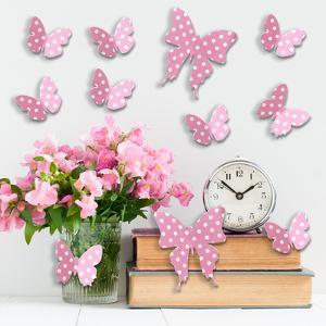 3D Pink Dots Butterflies