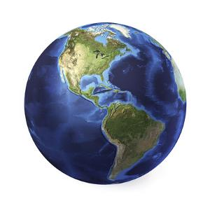 3D Rendering of Planet Earth, Centered on North America and South America