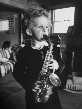 4 Year Old Preacher Marjoe Gortner, Playing the Saxaphone
