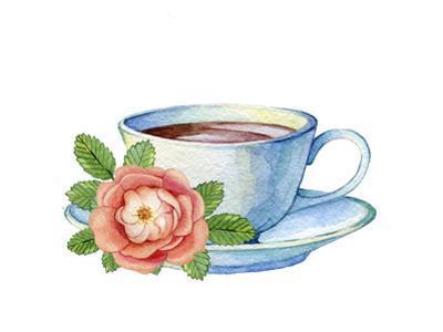 Illustration of Vintage Porcelain Teacup and Flowers by 4uda4ka
