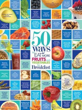 50 Ways to Eat More Fruits and Vegetables For Breakfast Educational Laminated Poster