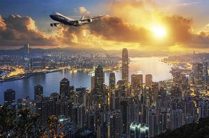 747-8F flying over Hong Kong