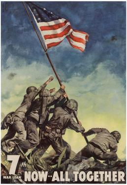 7th War Loan Bonds Iwo Jima Soldiers with Flag WWII War Propaganda Art Print Poster