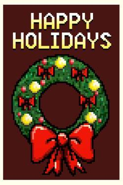 8 Bit Happy Holidays Wreath Plastic Sign