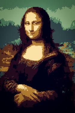 8-Bit Mona Lisa Plastic Sign