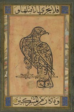 A 19th Century Persian Calligraphic Inscription in the Shape of a Falcon