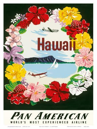 Hawaii - Flower Lei and Diamond Head Crater - Pan American World Airways by A. Amspoker