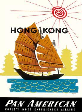Hong Kong, China Pan Am American Traditional Sail Boat and Temples by A. Amspoker