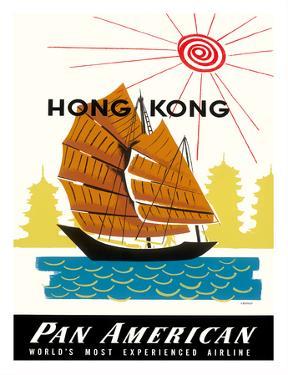Hong Kong, China Pan Am American Traditional Sail Boat and Temples by A. Amspoker