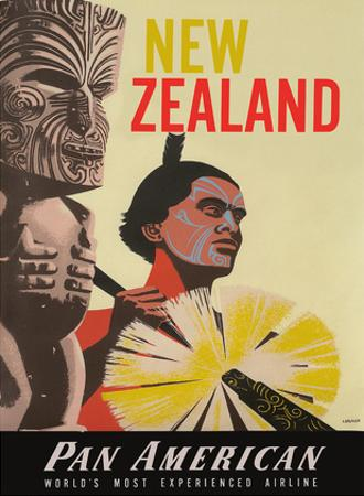 New Zealand - Pan American World Airways - Native Maori Warrior and Tiki by A. Amspoker