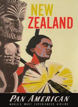 New Zealand - Pan American World Airways - Native Maori Warrior and Tiki by A. Amspoker