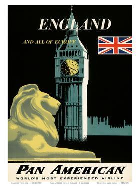 Pan American Airlines (PAA) - England And All Of Europe- Big Ben and British Flag by A Amspoker