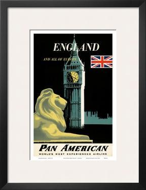 Pan American Airlines (PAA) - England And All Of Europe- Big Ben and British Flag by A. Amspoker
