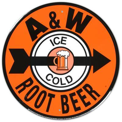 A and W Root Beer Soda Metal Round