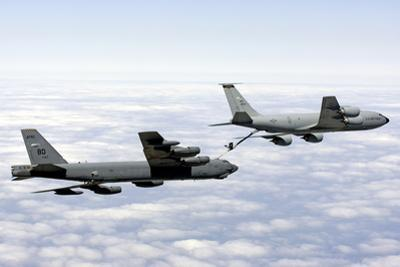 A B-52H Stratofortress Refuels with a Kc-135R Stratotanker
