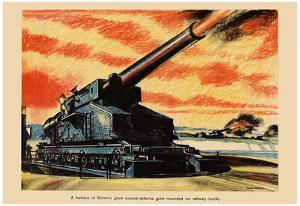 A Battery of Britain's Giant Coastal-Defence Guns WWII War Propaganda Art Print Poster