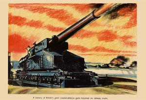 A Battery of Britain's Giant Coastal-Defence Guns WWII War Propaganda Art Print Poster