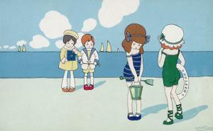 Children on the Beach, Wanting to Make Friends But Feeling a Bit Shy by A. Bertiglia
