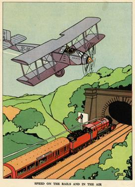 A Biplane and a Steam Train