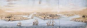 A Bird's Eye View of Valetta from the Sea, with Men-o-War entering the Harbour