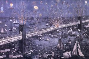 A Birds-Eye View of the Great New York and Brooklyn Bridge and Grand Display of Fire Works on…
