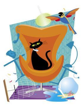 A Black Cat Sits in a Chair as a Scared Parrot Flies Around the Room Making a Mess