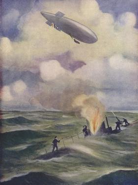 A British Naval Airship Bombing a Submarine