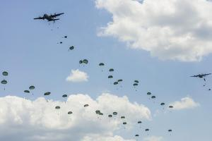 A C-130 Hercules Drop U.S. Army Airborne Troops over Maryland