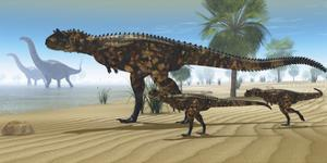 A Carnotaurus Mother Brings Her Offspring Down to a River to Drink