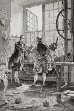 A Carpenter and His Client in an 18th Century French Carpenter's Workshop