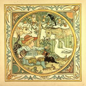 A Child Surrounded by a Cat Donkey Geese a Raven a Mouse a Frog an Owl and a Cow