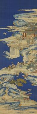 A Chinese Kesi Coloured Silk Panel Depicting Daoist Immortals