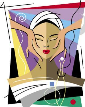 A Close-Up of a Woman's Head Receiving a Facial Massage