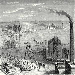 A Coal Mine in Newcastle with Wagons Drawn by Horses on Wooden Rails