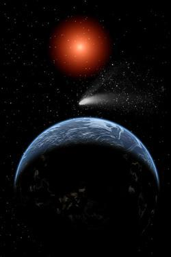 A Comet Passing the Earth on its Return Journey from around the Sun