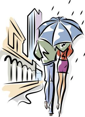 A Couple Walking with an Umbrella