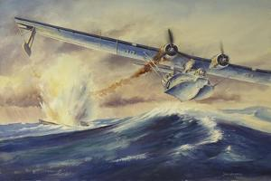A Damaged Pby Catalina Aircraft after the Attack and Sinking of a German U-Boat