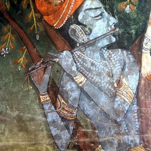 A Detail of a Scene Depicting Krishna's Youth, When He Danced with the Gopis (Wives and Daughters…
